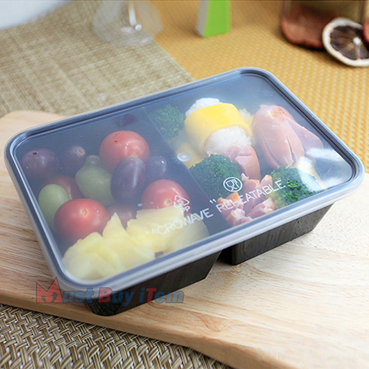 Portable Food Plastic Storage Lunch Meal Prep Containers 2 Compartment Reusable Microwavable 22oz With Lids 04