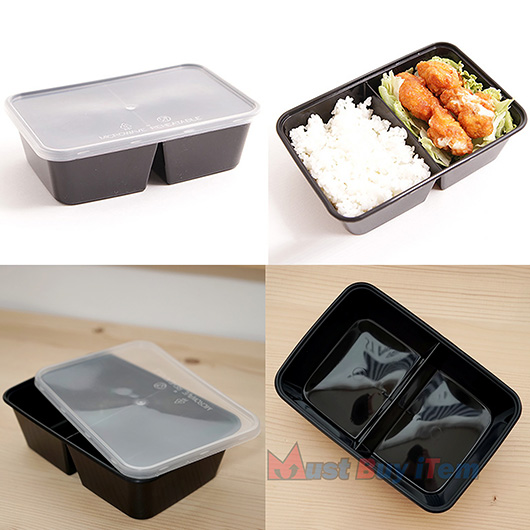 Reheatable Food Plastic Storage Lunch Meal Prep Containers Reusable Microwavable 22oz 2 Compartment With Lids 08