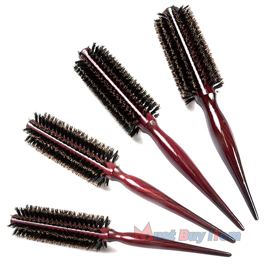 Professional Natural Boar Bristle Round Hair Curlers Brush
